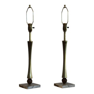 1960s Laurel Brass and Marble Table Lamps. - a Pair For Sale