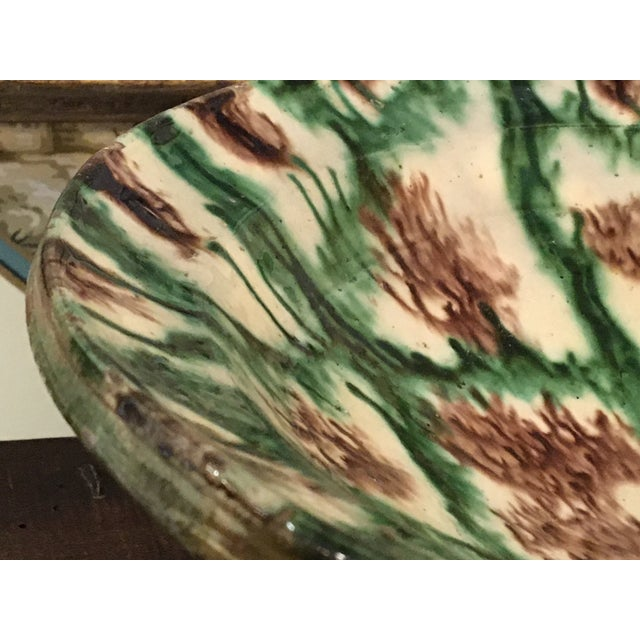 Green French Antique Pottery Glazed Bowl, South of France For Sale - Image 8 of 13