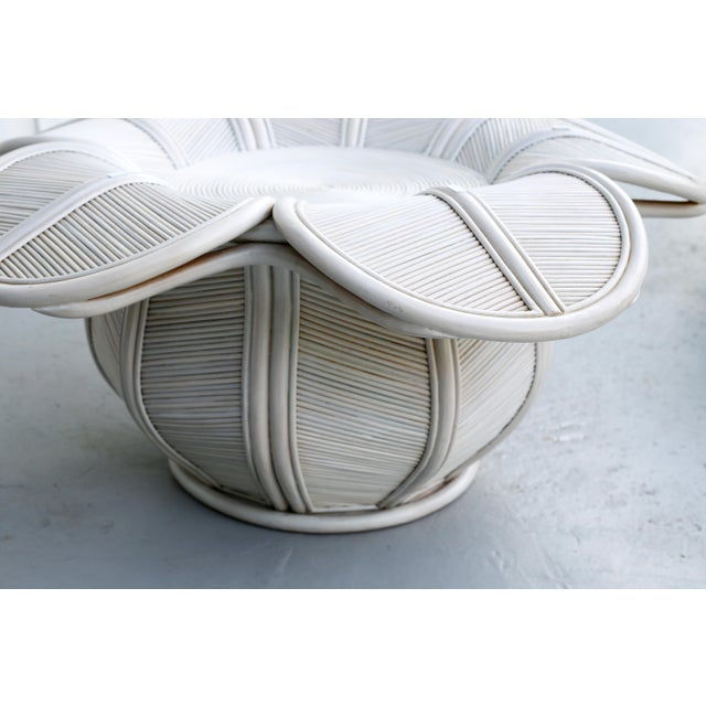 Franco Albini 1970s Mid Century Modern Gabriella Crespi / Franco Albini Style Rattan Bell Flower Coffee Table For Sale - Image 4 of 11