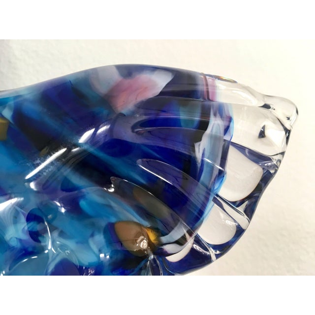 Glass Flight of Blue Butterflies Contemporary Blown Glass Wall Art Sculpture For Sale - Image 7 of 11