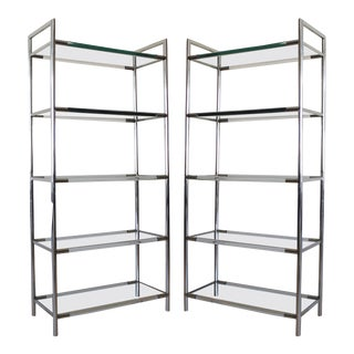 1970s Mid-Century Modern Chrome and Lucite Etageres - a Pair For Sale