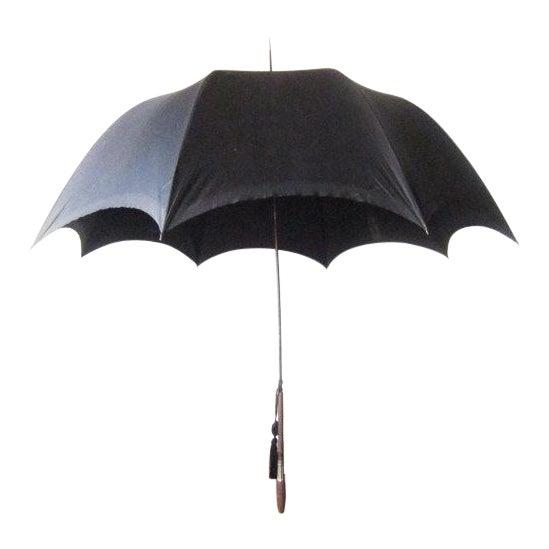 Antique Edwardian Mens Silk Parasol Black Umbrella - Image 1 of 6
