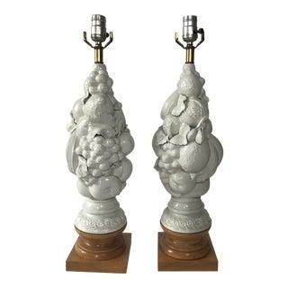 White Italian Fruit Topiary Lamps - A Pair
