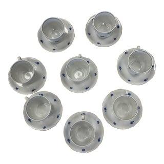 """Vintage German Kahla """"Blue Cornflower"""" Porcelain Tea Cups & Saucers- Set of 8 For Sale"""
