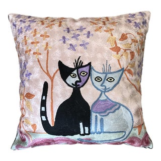 Handmade Silk Picasso Style Pillow Cover For Sale