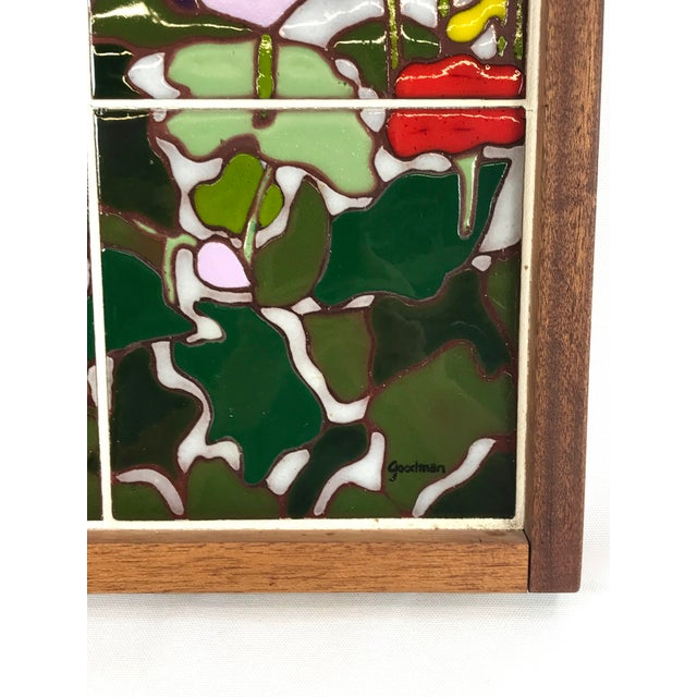 20th Century Art Nouveau Tile Artwork in Wood Frame by Roberta Goodman For Sale - Image 4 of 13