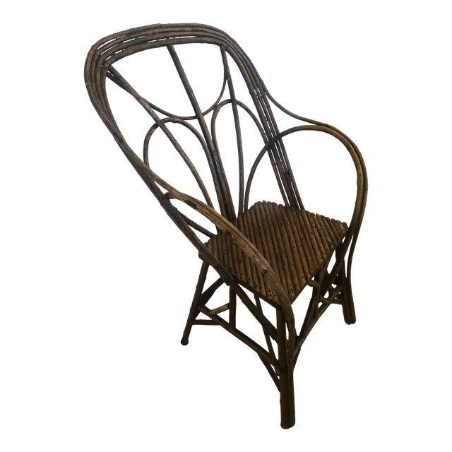 Antique Rustic Adirondack Twig Chair For Sale