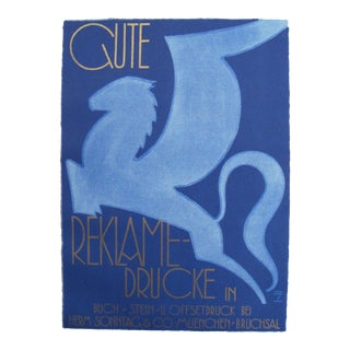 1926 German Poster, Blue Flying Horse For Sale