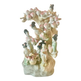 Vintage Chinoiserie Statue of 7 Fairies of the Seasons For Sale