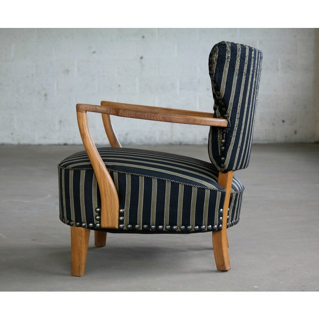 1940s Otto Schulz Style Lounge Chair in Oak With Brass Tacks Danish Midcentury For Sale - Image 5 of 11