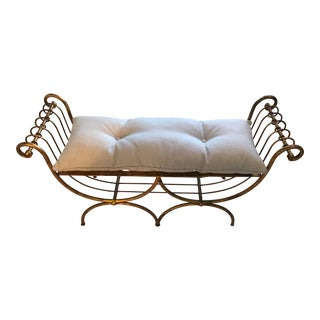 Italian Hollywood Regency Gilt Metal Bench For Sale
