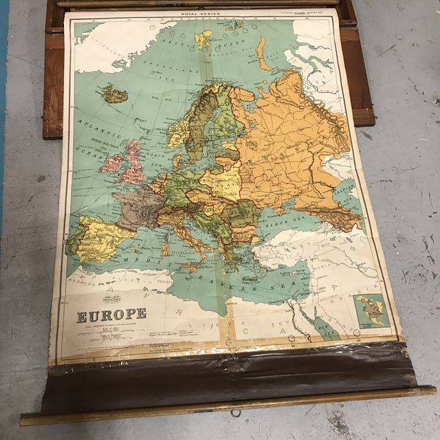 Blue Antique Nystrom Pull Down Maps in Case - Set of 4 For Sale - Image 8 of 13