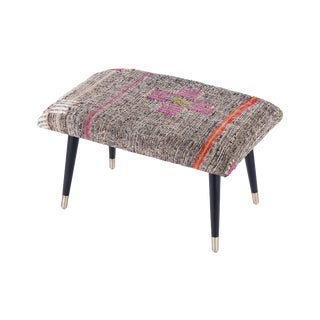 Pasargad Home Bosphorus Collection Gray Kilim Cover Ottoman For Sale
