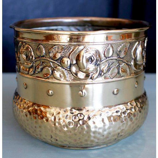 Small English Brass Repoussé Cachepot - Image 7 of 7