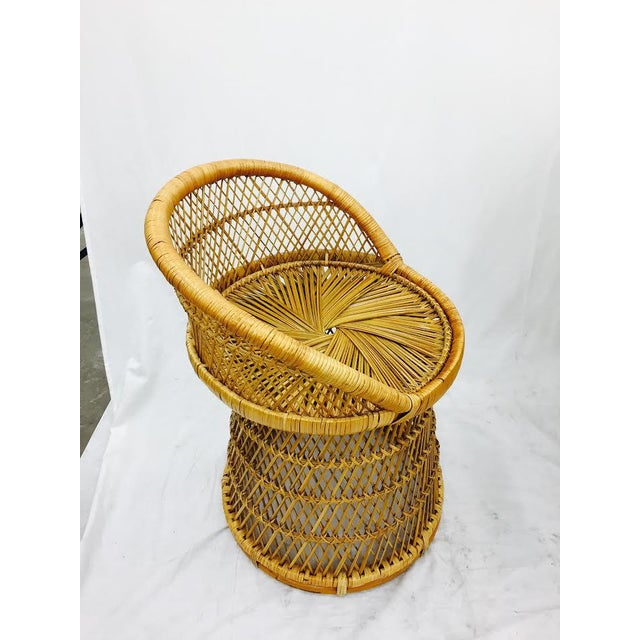 Vintage Boho Chic Wicker Bistro Set For Sale In Raleigh - Image 6 of 11