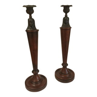 Egyptian Revival Candlesticks - a Pair