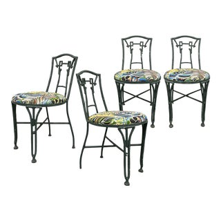 Vintage Wrought Iron Bamboo-Look Chairs With Newly Upholstered Seat Cushions — Set of 4 For Sale
