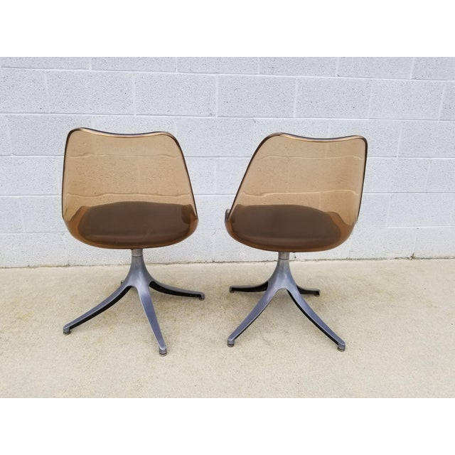 1960s Mid Century Chromcraft Brown Lucite Side Chairs- a Pair For Sale - Image 5 of 8