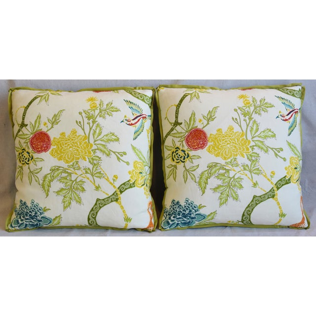Pair of custom-tailored pillows in unused Schumacher printed linen fabric called Arbre Chinois Meadow. Vintage unused...