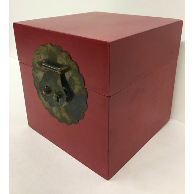 Chinese Vintage Chinese Cranberry Wood Brass Box For Sale - Image 3 of 11