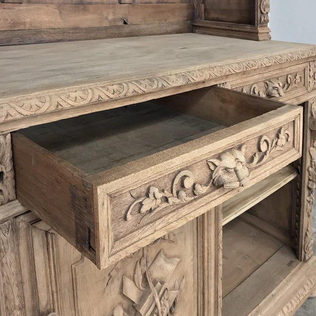 19th Century French Renaissance Stripped Oak Bookcase For Sale - Image 9 of 13