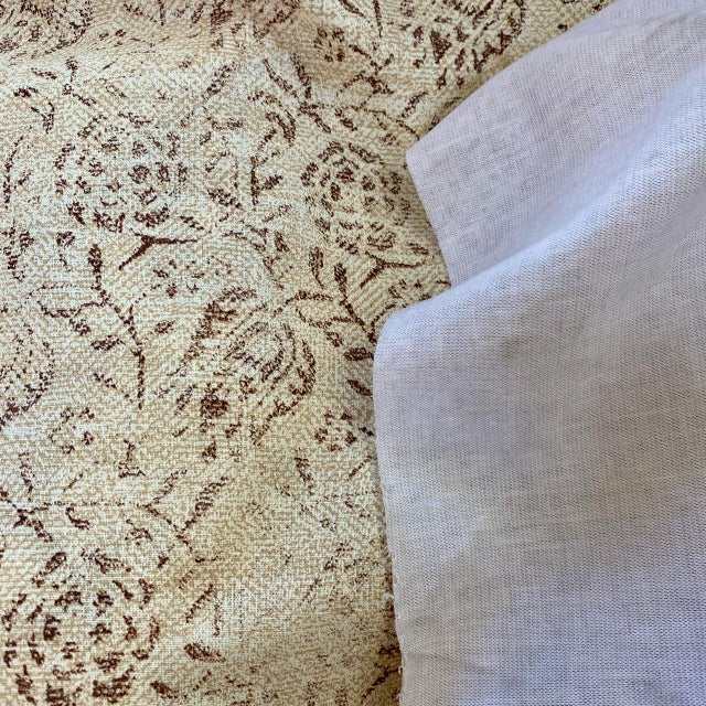 """Contemporary Rose Tarlow for Melrose House """"Calais"""" Fabric in Taupe/Natural 100% Hemp Lined For Sale - Image 3 of 9"""