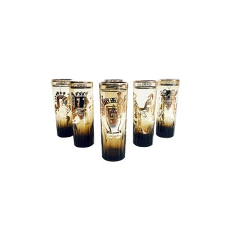 Vintage Mexican Silver Stylized Tall Cocktail Tumblers - Set of 6 For Sale