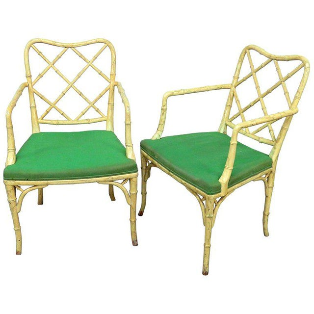 Pair of Faux Bamboo Armchairs For Sale - Image 9 of 9