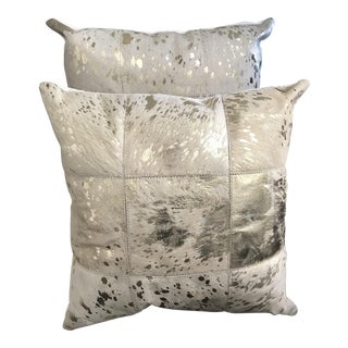 "20"" Gold Metallic Cream Cowhide Pillows With Down Filling - a Pair"