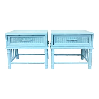 Vintage Aqua Faux Bamboo Nightstands - A Pair For Sale