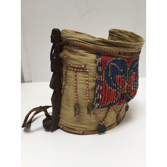 Red Dayak Kayan Borneo Beaded Basket Baby Carrier For Sale - Image 8 of 10