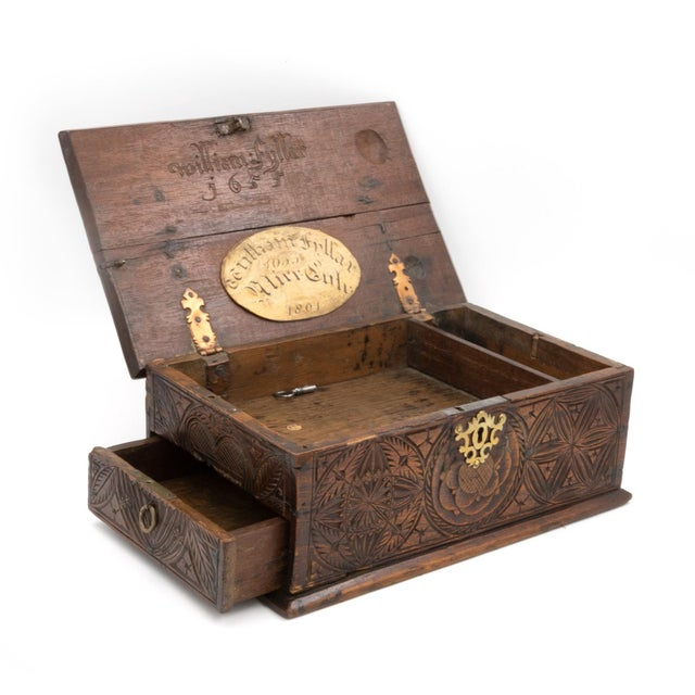 Gold A 17th Century Carved Oak Box With Side Drawer Dated 1655. For Sale - Image 8 of 13