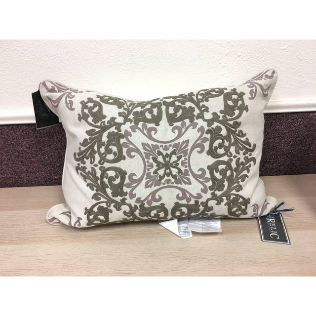 Villa Embroidered Linen Pillow For Sale - Image 4 of 10