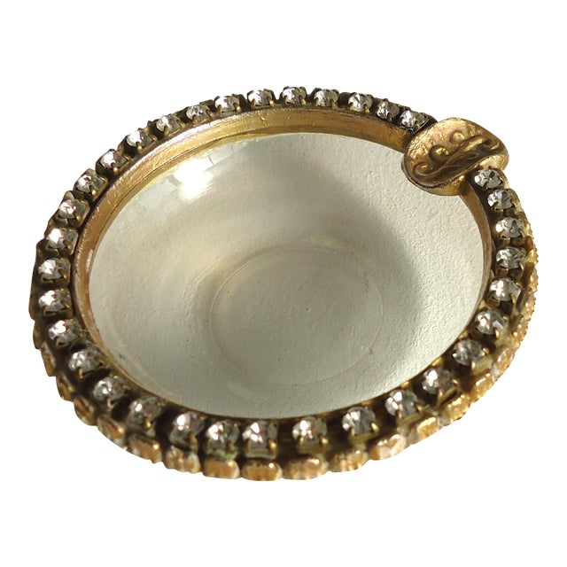 Vintage Rhinestone & Glass Ashtray - Image 1 of 3