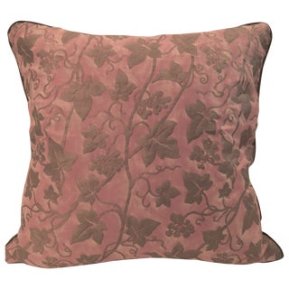 "Fortuny ""Edera"" Pink/Silver/Gold Pompeian Pillow For Sale"