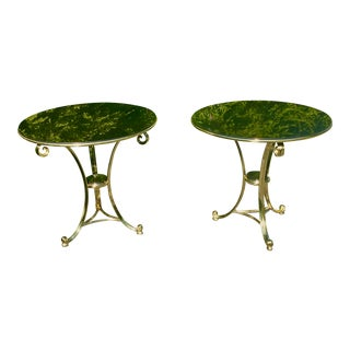 1960s Italian Polished Stone and Cast Brass Gueridon Tables - a Pair For Sale
