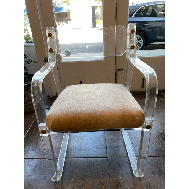 Transparent Mid-Century Lucite and Hide Chair For Sale - Image 8 of 8