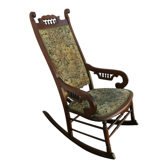 19th Century Victorian Carved Side Rocking Chair For Sale