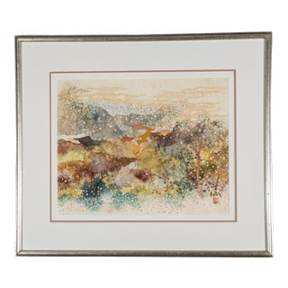 Original Watercolor Painting in Frame For Sale
