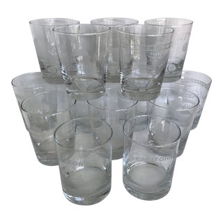 Vintage 1996 to 2008 California Regional Bridge Tournament Double Old Fashion Glasses - Set of 14 For Sale