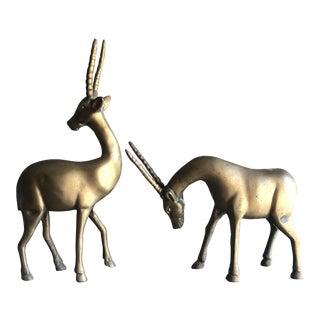 Vintage Pair of Brass Antelope Orex Animal Ibex Figurines For Sale