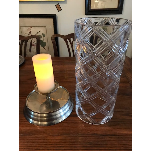 Metal Crystal Hurricane Globes - a Pair For Sale - Image 7 of 11