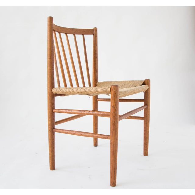 Spindle-Backed Oak and Danish Cord Dining Chairs - S/6 - Image 6 of 10