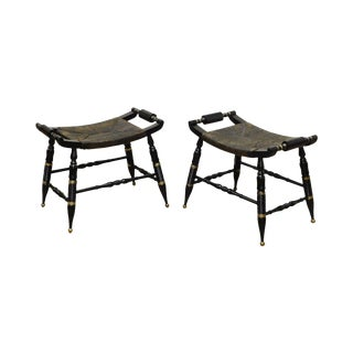 Hitchcock Style Vintage Pair Black & Gold Rush Seat Stools or Benches For Sale