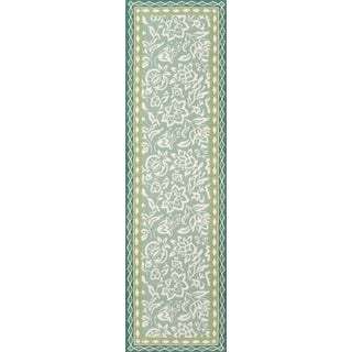 """Madcap Cottage Under a Loggia Rokeby Road Green Indoor/Outdoor Area Rug 2'3"""" X 8' Runner For Sale"""