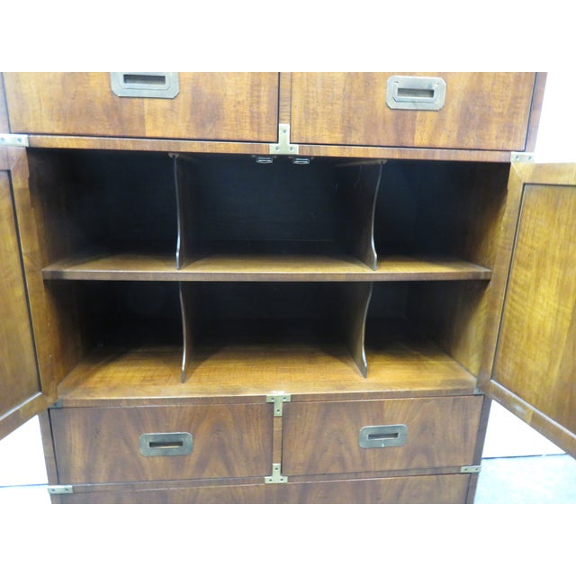 Mid 20th Century Mid Century Modern Fruitwood Campaign Chest of Drawers For Sale - Image 5 of 9