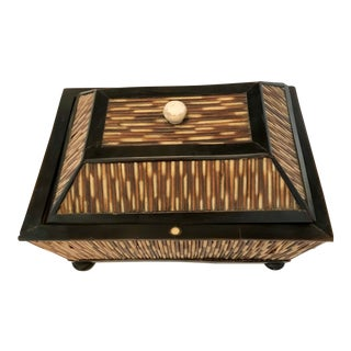 Mid 19th Century Antique Porcupine Quill Sewing Box For Sale