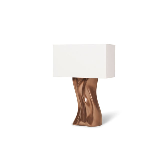 Contemporary Amorph Doris Table Lamp in Bronze Finish and Ivory Silk Shade For Sale - Image 3 of 8