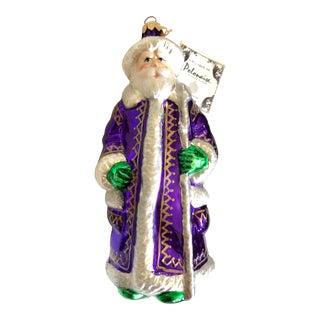 Polonaise Kurt Adler Purple Santa Ornament For Sale