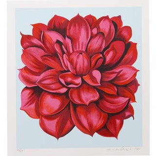 """Red Dahlia From the Stamps Series"" Print For Sale"